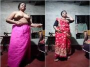 Desi Boudi Strip Her Saree Showing Her Boobs and Pussy
